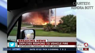 Pick-up truck catches on fire in Fort Myers