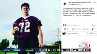 Football team scores 72 points to honor teammate