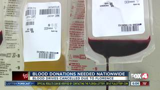 Blood drives canceled due to Florence