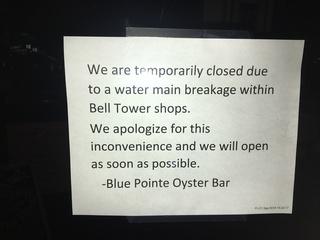 Water main break closed restaurants