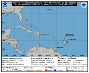 Tropical Depression 11 expected to dissipate