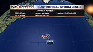 Subtropical Storm Leslie forms in the Atlantic