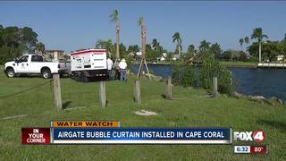 Bubble curtain installed to help clean algae