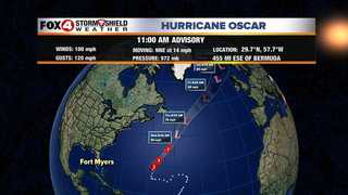 Oscar a Category 2 hurricane