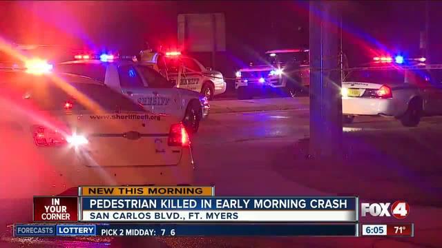 Pedestrian killen in crash on San Carlos Boulevard early Thursday